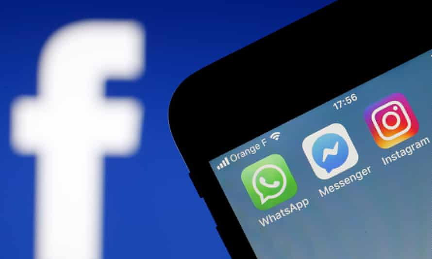 WhatsApp, Messenger and Instagram apps on a phone