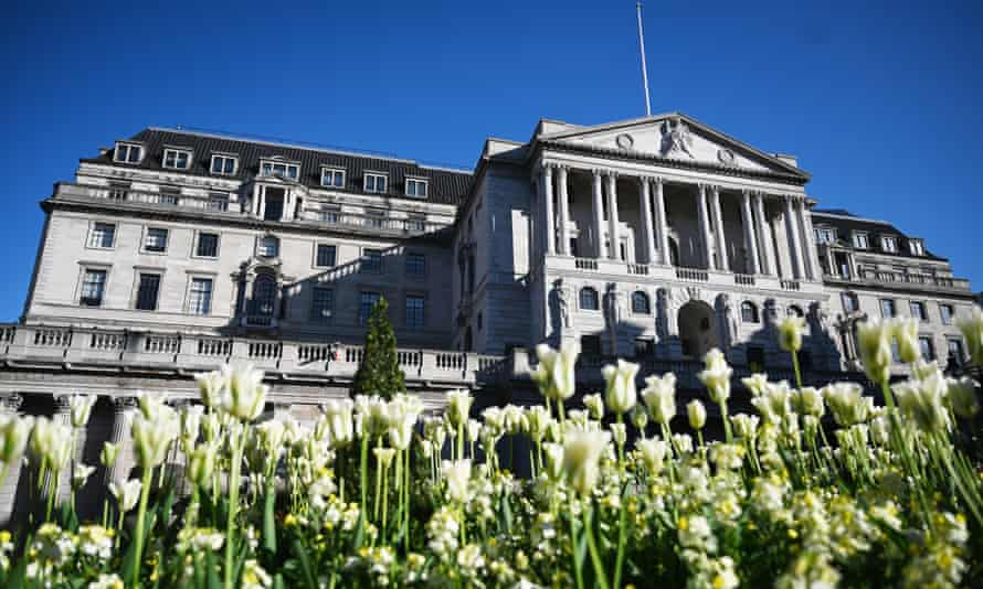Flowers bloom by the Bank of England in the City of London