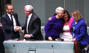 The crossbench celebrate the passing of the medevac bill. Tuesday 12 February 2019.