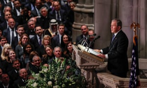 George W Bush delivers the eulogy during the funeral