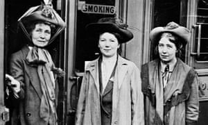 Emmeline Pankhurst, left, with daughters Christabel, centre, and Sylvia at Waterloo station in 1911. Emmeline was setting off for a lecture tour of the US and Canada.