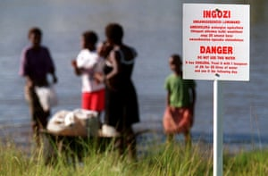 A dam infected with cholera in South Africa in 2001.