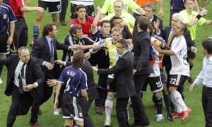 A fight breaks out at the end of Germany's victory over Argentina on penalties at the 2006 World Cup.