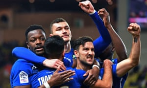 Strasbourg players celebrate during their 5-1 win at Monaco.