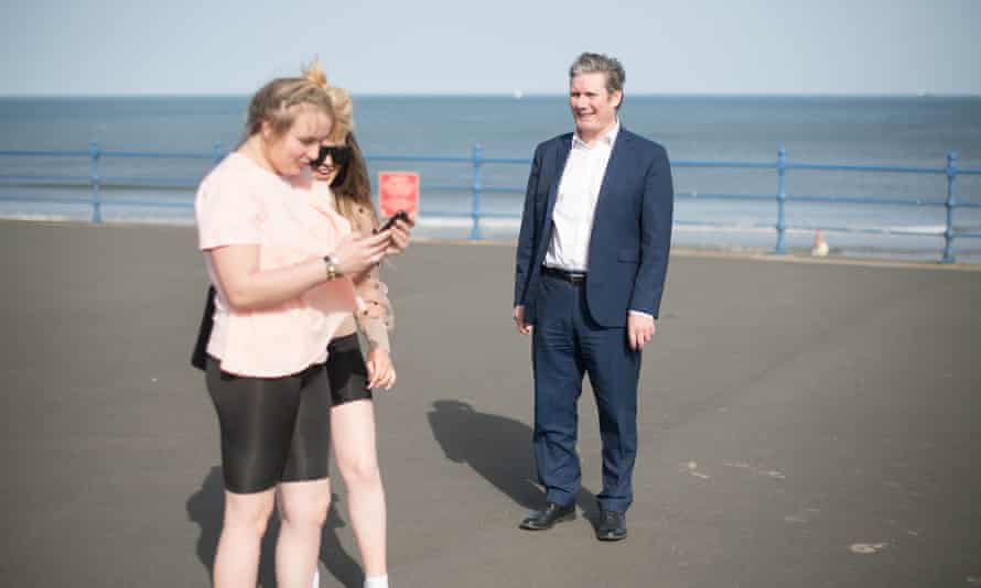 Keir Starmer campaigning in Seaton Carew, County Durham.