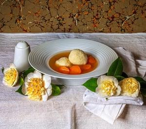 Chicken soup and matzo balls.