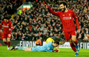 Liverpool's Mohamed Salah celebrates after scoring the fourth goal.