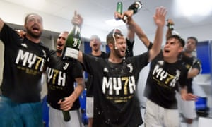 Juventus players celebrating their seventh league titles in a row, at the Stadio Olimpico.