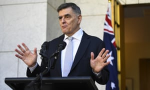 Australia's Chief Medical Officer Brendan Murphy speaks to the media during a press conference at Parliament House in Canberra, 18 March.