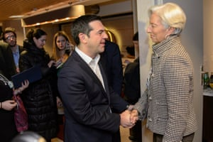 Greece's Prime Minister Alexis Tsipras meeting the Managing Director of the International Monetary Fund (IMF), Christine Lagarde (R), during a bilateral meeting at the 46th Annual Meeting of the World Economic Forum, WEF, in Davos, today.