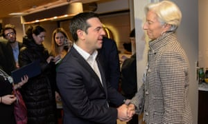 Tsipras meets Lagarde during a bilateral meeting in Davos.