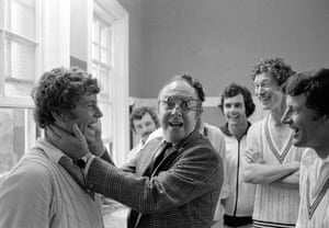 Comedian Eric Morecambe goes down a storm with members of the New Zealand team in their dressing room during their first Test match against England at The Oval in July 1978