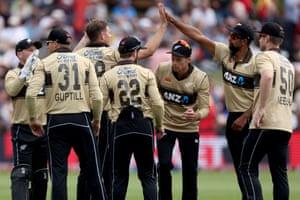 New Zealand celebrate the wicket of Matthew Wade.