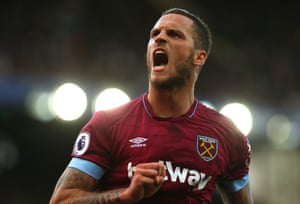 West Ham's Marko Arnautovic celebrates scoring to make it 3-1 against Everton at Goodison Park, their first league win of the season and moving The Hammers off the bottom of the table.