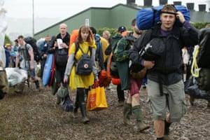 People arrive for Glastonbury