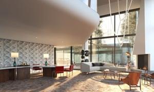 Comfy seating and a desk, big windows