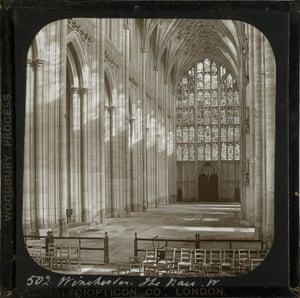 Winchester Cathedral, the Nave, West, c1883, Frederick H Evans (British, 1853–1943), lantern slide