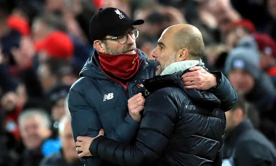 Jürgen Klopp (left) and Pep Guardiola are reunited on Sunday, with the Liverpool manager's application of pressing proving more effective than his City counterpart's.