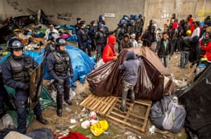 Calais, France: About 200 Syrian refugees are evicted from a campsite