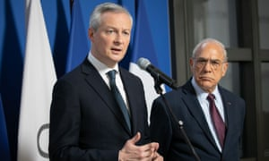 Bruno Le Maire, the French finance minister, (left) with Ángel Gurria, the secretary general of the OECD,