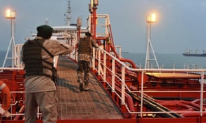 Iran's Revolutionary Guard on the seized UK tanker Stena Impero in July 2019. New tensions threaten similar action