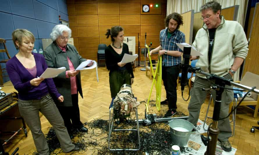 A scene featuring David Archer, played by Tim Bentinck, Jill Archer played by Patricia Green, Helen Archer played by Louiza Patikas, and Ruth Archer, played by Felicity Finch.