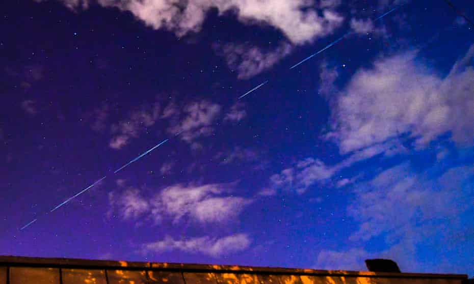SpaceX Starlink satellites visible in the night sky