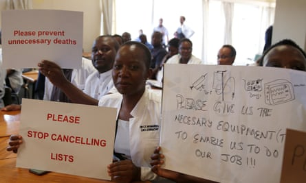 Senior doctors at Parirenyatwa general hospital in Harare, the Zimbabwean capital, protest over shortages of medicine and supplies