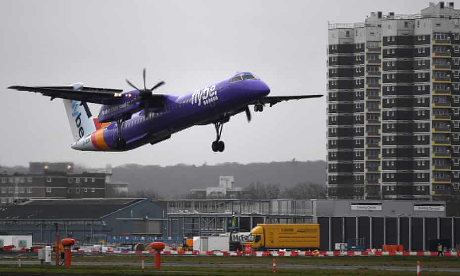 Flybe plane landing at London's City airport