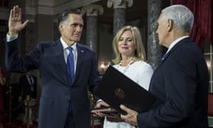 Mitt Romney with his wife Ann and Mike Pence. The party of Abraham Lincoln, Teddy Roosevelt and Ronald Reagan is now the party of Trump.