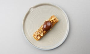 'Re-engineered Snickers': white chocolate-miso bar.