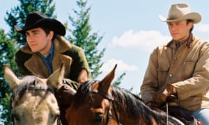 Jake Gyllenhaal, left, and Heath Ledger in Brokeback Mountain.
