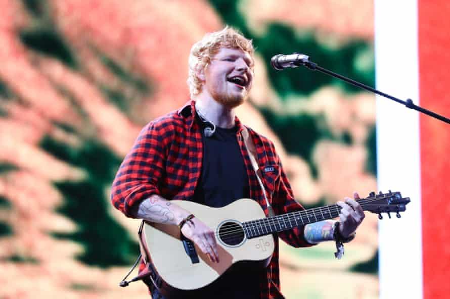 Ed Sheeran on the Pyramid stage.
