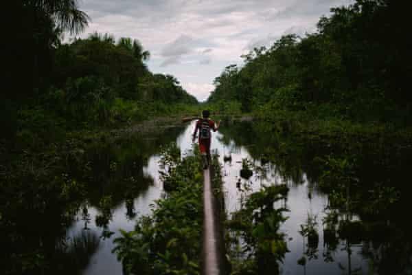 An oil pipeline through Wampis territory in the Peruvian Amazon.