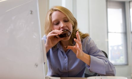The study found: 'Our results suggest that the foods people get from work do not align well with the recommendations in the Dietary Guidelines for Americans.'