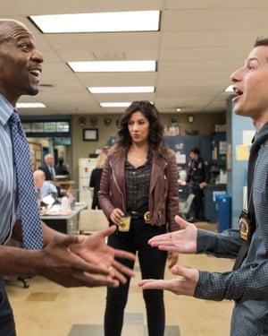 Terry Crews, Stephanie Beatriz and Andy Samberg in Brooklyn Nine-Nine.
