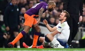 Tottenham's Harry Kane hurt his left ankle tackling Fabian Delph, who was angered by the challenge.