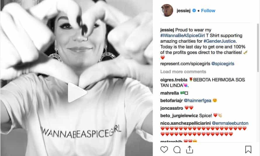 Jessie J wearing an I Wanna be a Spice Girl T-shirt