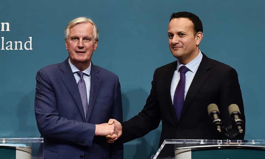 Michel Barnier with Leo Varadkar for talk ahead of this Wednesdays European Council meeting.
