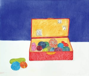 Colour drawing of a box of wool once owned by Vincent Van Gogh.