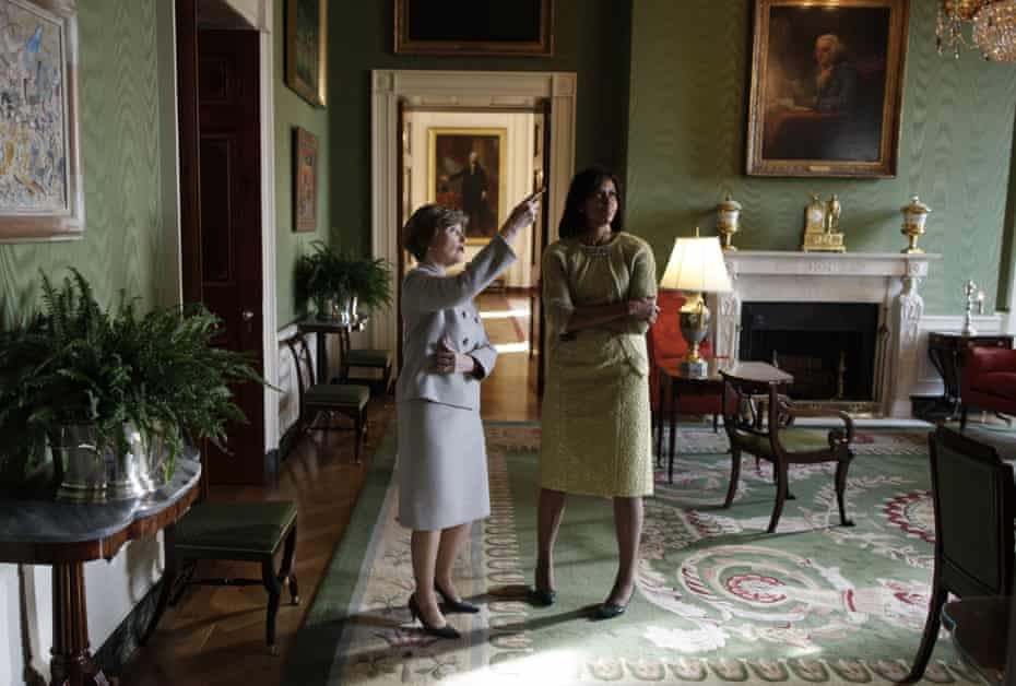 Laura Bush takes Michelle Obama for a private tour of the White House.