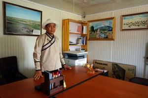 Battsengel Lkhamdoorov, 45, in the office of Gobi Soil in Khanbogd, southern Gobi, Mongolia