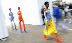 Richard Malone's Fashion East show, at London Fashion Week S/S 2017, was based on the aesthetic of workers' uniforms.