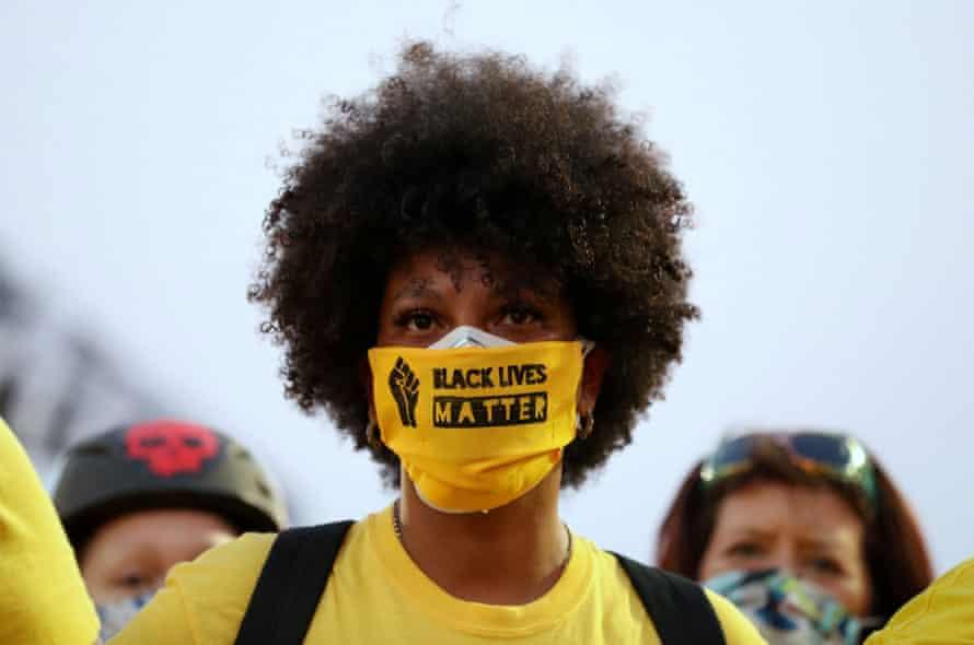 A protester joins a Black Lives Matter protest in Portland, Oregon.