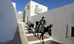 man on his mule in an Amorgos village