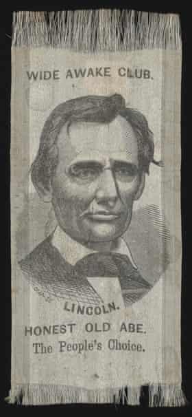 A Wide Awake Club ribbon featuring Abraham Lincoln.