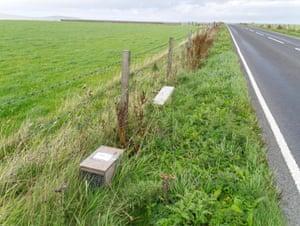 Stoat traps on an Orkney roadside