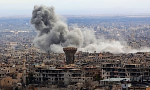 Smoke rises from eastern Ghouta