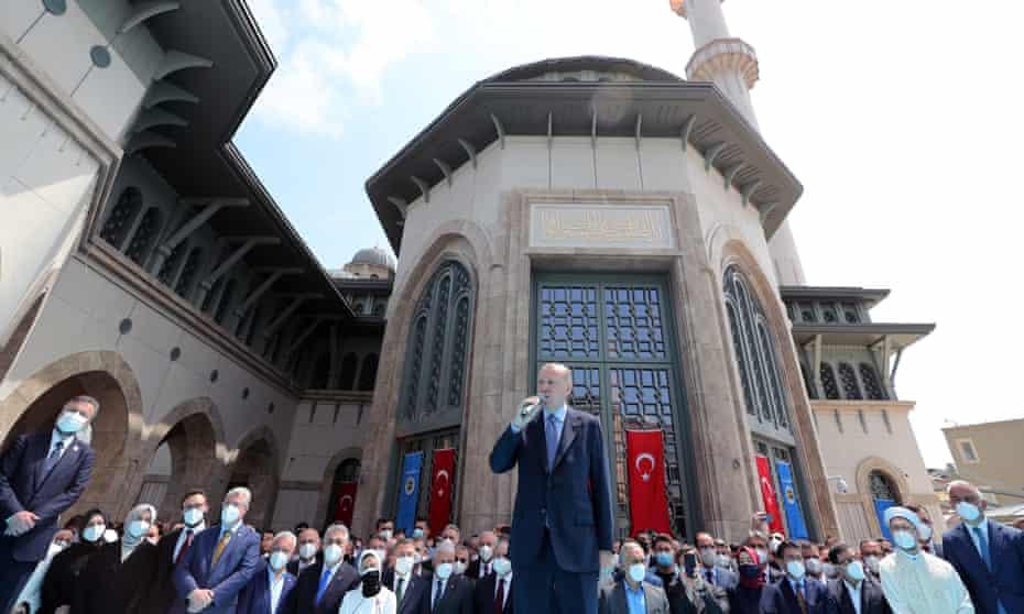 The Turkish president, Recep Tayyip Erdoğan, speaking during the opening of Taksim mosque in Istanbul
