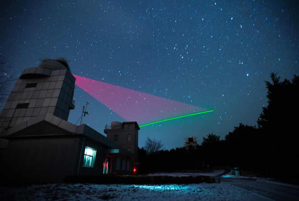 photograph of the quantum link between satellite Micius and a ground station in china